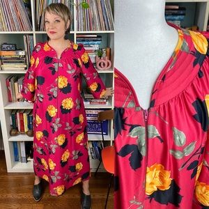 Vintage 80s Kaftan House Dress / Dressing Gown XXL